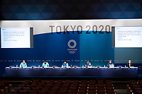 210718 18th July 2021, Tokyo, Japan; Photo taken on July 18, 2021 shows a press conference, PK, Pressekonferenz by Tokyo 2020 Organizing Committee at the Main Press Center MPC