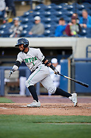 Clinton LumberKings third baseman Luis Rengifo (1) follows through on a swing during a game against the West Michigan Whitecaps on May 3, 2017 at Fifth Third Ballpark in Comstock Park, Michigan.  West Michigan defeated Clinton 3-2.  (Mike Janes/Four Seam Images)