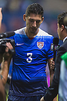 United States' defender Omar Gonzalez (3) is interviewed at the conclusion of an international friendly at the Alamodome, Wednesday, April 15, 2015 in San Antonio, Tex. USA defeated Mexico 2-0. (Mo Khursheed/TFV Media via AP Images)