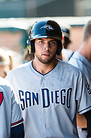 Peoria Javelinas third baseman Hudson Potts (13), of the San Diego Padres organization, walks through the dugout after hitting a home run during an Arizona Fall League game against the Surprise Saguaros at Surprise Stadium on October 17, 2018 in Surprise, Arizona. (Zachary Lucy/Four Seam Images)