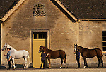 Stable block Badminton House estate, Stable girls groom horses. Gloucestershire England. Duke of Beaufort Hunt horses. They  will be inspected by the Head Groom. 1990s