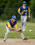 OXFORD, CT, 07 JULY 2011-070711JS04---Oxford's Nick Lemire (10) scoops up a ground ball during their American Legion game against Naugatuck Thursday at Oxford High School. <br /> Jim Shannon/Republican-American
