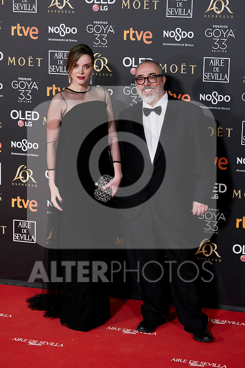 Carolina Bang and Alex de la Iglesia attends to 33rd Goya Awards at Fibes - Conference and Exhibition  in Seville, Spain. February 02, 2019. (ALTERPHOTOS/A. Perez Meca)