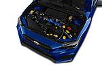 Car stock 2018 Subaru WRX STI Sport Premium 4 Door Sedan engine high angle detail view