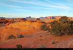 The Saucers and Petrified Dunes at Sunset, Mystery Valley, Monument Valley Navajo Tribal Park, Navajo Nation Reservation, Utah/Arizona Border