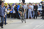 Pierre-Luc Perichon (FRA) Bretagne-Seche exits Sector 10 Mons-en-Pevele during the 113th edition of the Paris-Roubaix 2015 cycle race held over the cobbled roads of Northern France. 12th April 2015.<br /> Photo: Eoin Clarke www.newsfile.ie