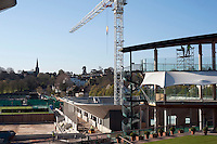 A view of the players area (right) and a new court under construction at Wimbledon, The All England Lawn Tennis Club (AELTC), London....