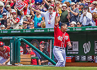 28 July 2013: Washington Nationals catcher Wilson Ramos takes a curtain call after hitting a grand slam against the New York Mets at Nationals Park in Washington, DC. The Nationals defeated the Mets 14-1. Mandatory Credit: Ed Wolfstein Photo *** RAW (NEF) Image File Available ***