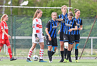 Jody Vangheluwe (22) of Club Brugge pictured celebrating with teammates after scoring a goal during a female soccer game between Club Brugge Dames YLA and Standard Femine de Liege on the seventh matchday in Play-Off 1 of the 2020 - 2021 season of Belgian Scooore Womens Super League , saturday 15 May 2021  in Brugge , Belgium . PHOTO SPORTPIX.BE   SPP   DAVID CATRY
