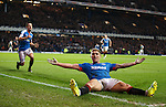Martyn Waghorn celebrates his killer fourth goal for Rangers