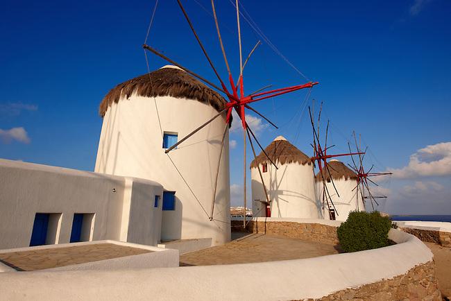 The traditional Greek windmills of Mykonos Chora. Cyclades Islands, Greece