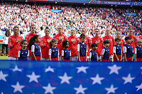 Paris, France - Sunday June  16, 2019: The women's national teams of the United States (USA) and Chile (CHI) pair up in a group play 2019 Women's World Cup match at Parc des Princes.