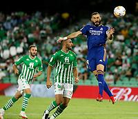 28th August 2021; Benito Villamarín Stadium, Seville, Spain, Spanish La Liga Football, Real Betis versus Real Madrid; Real Madrid player Karim Benzema (9)gets his header on goal