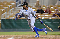 Peoria Javelinas outfielder Jorge Bonifacio (22), of the Kansas City Royals organization, during an Arizona Fall League game against the Glendale Desert Dogs on October 15, 2013 at Camelback Ranch Stadium in Glendale, Arizona.  Glendale defeated Peoria 5-1.  (Mike Janes/Four Seam Images)