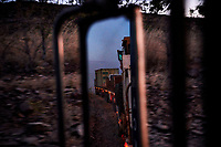 Nick Atkins' cargo seen in the mirror of his truck  on his trip from Kununurra to Kalumburu. At the end of the first day, Nick said: ''I reckon I could drive it in the dark. Gibb River-Kalumburu Road, Western Australia.''