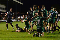 Dan Evans of Ospreys scores his sides fourth try during the Guinness Pro14 match between the Ospreys and Connacht Rugby at Morganstone Brewery Field in Bridgend, Wales, UK. Friday 26 October 2018