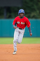 Isaiah White (11) of Greenfield High School in Wilson, North Carolina playing for the Boston Red Sox scout team at the South Atlantic Border Battle at Doak Field on November 1, 2014.  (Brian Westerholt/Four Seam Images)