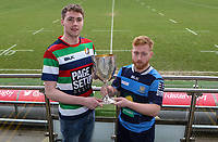 Monday 24th February 2020 | Deep River Rock Ulster Towns Cup Semi-Final Draw<br /> <br /> Pictured with the Deep River Rock Ulster Towns Cup are Ballyclare RFC captain Josh Young and Dromore RFC captain Lee Steenson. Photo by John Dickson / DICKSONDIGITAL