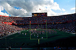 In Gainesville, Florida the UF Gators take on the FSU Seminoles in football at the Ben Hill Griffin Stadium aka THE SWAMP. The Seminoles won the game though.