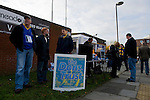 AFC Wimbledon 4 Portsmouth 0, 16/11/2013. Kingsmeadow, League Two. Wimbledon and Portsmouth have had turbulent histories and both supporter-owned clubs are now in League Two. The Dons Trust drum up support outside the stadium.  Photo by Simon Gill.