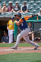 Carlos Pèrez (3) of the Las Vegas Aviators at bat against the Salt Lake Bees at Smith's Ballpark on June 27, 2021 in Salt Lake City, Utah. The Aviators defeated the Bees 5-3. (Stephen Smith/Four Seam Images)