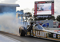 Mar. 9, 2012; Gainesville, FL, USA; NHRA top fuel dragster driver Tony Schumacher during qualifying for the Gatornationals at Auto Plus Raceway at Gainesville. Mandatory Credit: Mark J. Rebilas-