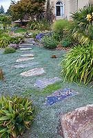 Stepping stone path through drought tolerant groundcover in front yard California garden with no lawn; Dymondia margaretae, Schneck Garden