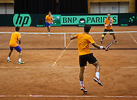 11-sept.-2013,Netherlands, Groningen,  Martini Plaza, Tennis, DavisCup Netherlands-Austria, Practice doubles,   <br /> Photo: Henk Koster