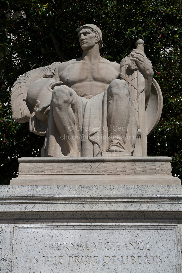 Guardianship Statue, National Archives, Washington DC, USA. Sculptor James Earle Fraser. Eternal vigilance is the price of liberty.