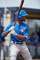 GCL Blue Jays left fielder DJ Neal (13) at bat during the first game of a doubleheader against the GCL Yankees East on July 24, 2017 at the Yankees Minor League Complex in Tampa, Florida.  GCL Blue Jays defeated the GCL Yankees East 6-3 in a game that originally started on July 8th.  (Mike Janes/Four Seam Images)