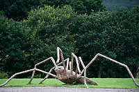 BNPS.co.uk (01202 558833)<br /> Pic: ZacharyCulpin/BNPS<br /> <br /> exStrawdinary Sculptures....<br /> <br /> Pictured: An spider straw sculpture<br /> <br /> Artists have created a series of giant animal sculptures made from hay and straw for a new outdoor art exhibition.<br /> <br /> Mike De Butts, Harriet Lumby and Alex Rinsler designed the collection of eight sculptures representing the UK's most iconic nocturnal native wildlife specifically for a new exhibition at Longleat House and Safari Park in Wiltshire.<br /> <br /> The art project, called 'Under the Moon', celebrates the mysterious world of animals after dark.<br /> <br /> The sculptures, which are up to three-metres tall include figures of an owl, fox, mole, badger<br /> and hedgehog alongside a toad, snail and a spider.