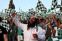 Macabi Haifa fans are seen during the final of the Israeli cup against Macabi Haifa, 2008 - 9, at the National Stadium of Ramat Gan. Beitar won the cup in a 3 - 0 result. Macabi Haifa won the league 2008 - 9. Photo by Quique Kierszenbaum