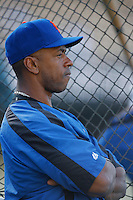 Julio Franco of the New York Mets during batting practice before a game from the 2007 season at Dodger Stadium in Los Angeles, California. (Larry Goren/Four Seam Images)