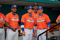 Fort Myers Miracle Brian Navarreto, St. Lucie Mets Jhoan Urena (41) and J.C. Rodriguez (14) and Bradenton Marauders Yunior Montero (27) before the Florida State League All-Star Game on June 17, 2017 at Joker Marchant Stadium in Lakeland, Florida.  FSL North All-Stars defeated the FSL South All-Stars  5-2.  (Mike Janes/Four Seam Images)