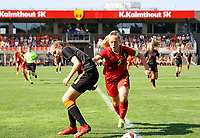 Bo op de Weegh (17) of the Netherlands and Captain Tinne Broeckaert (2) of Belgium in action during an international friendly female soccer game between the national teams of Belgium , called the Red Flames U17 and the Netherlands on Wednesday 8th of September 2020  in Kalmthout , Belgium . PHOTO SPORTPIX.BE | SPP | SEVIL OKTEM
