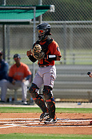 GCL Astros catcher Jose Alvarez (6) during a Gulf Coast League game against the GCL Cardinals on August 11, 2019 at Roger Dean Stadium Complex in Jupiter, Florida.  GCL Cardinals defeated the GCL Astros 2-1.  (Mike Janes/Four Seam Images)