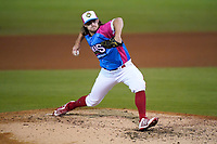 """Pitcher Dylan Spacke (39) of the Greenville Drive during a game against the Brooklyn Cyclones on Saturday, May 15, 2021, at Fluor Field at the West End in Greenville, South Carolina. Drive players were wearing jerseys for the """"Ranas de Rio de Greenville"""" (Greenville River Frogs), as part of Minor League Baseball's """"Copa de la Diversion."""" (Tom Priddy/Four Seam Images)"""