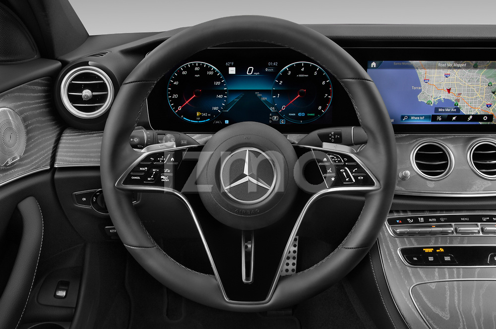 Car pictures of steering wheel view of a 2021 Mercedes Benz E-Class-Wagon E450-All-Terrain 5 Door Wagon Steering Wheel