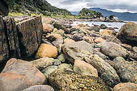 Rocky beach at Martins Bay on Hollyford Track, Fiordland National Park, UNESCO World Heritage Area, Southland, New Zealand, NZ