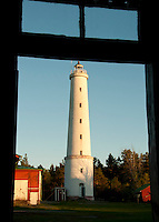 Säppi lighthouse at sundown through the keeper's window -Gulf of Bothnia, Finland.