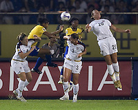 Brazil midfielders (5) Renata Costa and (9)  Maycon battle USA forward (20) Abby Wambach, defenders (4) Cat Whitehill, and (3) Christie Rampone for a header. Brazil (BRA) defeated the United States (USA) 4-0 during the FIFA Women's World Cup China 2007 at Hangzhou Dragon Stadium in Hangzhou, China, on September 27, 2007. Brazil advances to the finals, while the United States will play in the third place game on September 30th.