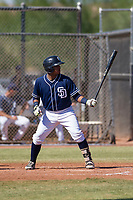 San Diego Padres catcher Alison Quintero (66) at bat during an Instructional League game against the Milwaukee Brewers on September 27, 2017 at Peoria Sports Complex in Peoria, Arizona. (Zachary Lucy/Four Seam Images)