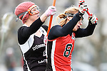 Frankfurt am Main, Germany, March 14: During the Damen 1. Bundesliga West Lacrosse match between SC 1880 Frankfurt and Duesseldorfer Hirschkuehe on March 14, 2015 at the SC 1880 Frankfurt in Frankfurt am Main, Germany. Final score 20-13 (13-8). (Photo by Dirk Markgraf / www.265-images.com) *** Local caption *** Philine Stamer #4 of Duesseldorfer Hirschkuehe, Inga Hupka #8 of SC 1880 Frankfurt