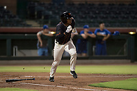 AZL Giants Black center fielder Randy Norris (1) hustles down the first base line during an Arizona League game against the AZL Royals at Scottsdale Stadium on August 7, 2018 in Scottsdale, Arizona. The AZL Giants Black defeated the AZL Royals by a score of 2-1. (Zachary Lucy/Four Seam Images)