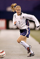"""Heather Mitts of the USA. The US Women's National Team tied the Denmark Women's National Team 1 to 1 during game 8 of the 10 game the """"Fan Celebration Tour"""" at Giant's Stadium, East Rutherford, NJ, on Wednesday, November 3, 2004.."""
