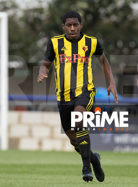 Michael Mullings of Watford during the Professonal Development League match between Watford U23 and Sheffield United U23 at The Maurice Rebak Stadium, Summers Lane, England on 17 August 2018. Photo by Andy Rowland.