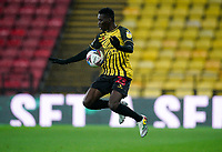 Ismaïla Sarr of Watford during the Sky Bet Championship behind closed doors match played without supporters with the town in tier 4 of the government covid-19 restrictions, between Watford and Norwich City at Vicarage Road, Watford, England on 26 December 2020. Photo by Andy Rowland.