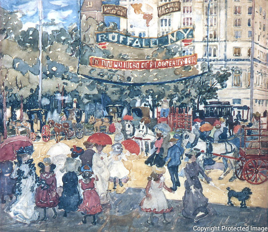 American Painters:  M. Prendergast--Madison Square, 1901.  Watercolor.  Whitney Museum of American Art.