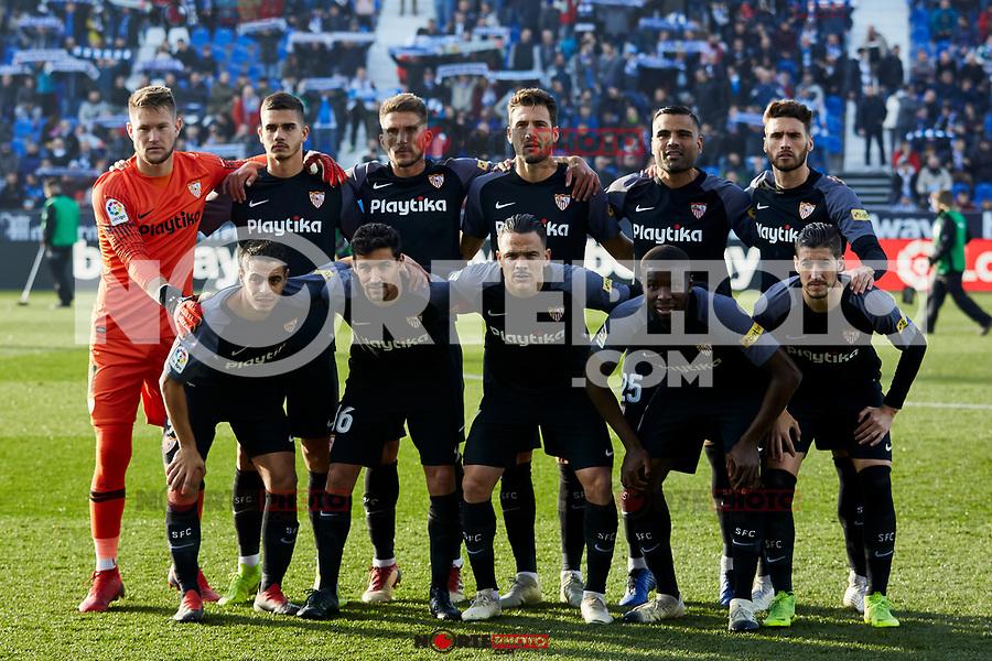 Sevilla FC's team photo during La Liga match between CD Leganes and Sevilla FC at Butarque Stadium in Leganes, Spain. December 23, 2018. (ALTERPHOTOS/A. Perez Meca) /NortEPhoto.com