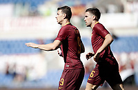 Calcio, Serie A: Roma, stadio Olimpico, 14 aprile 2017.<br /> Roma's Edin Dzeko (l) celebrates with his teammate Kevin Strootman (r) after scoring during the Italian Serie A football match between Roma and Atalanta at Rome's Olympic stadium, April 14, 2017.<br /> UPDATE IMAGES PRESS/Isabella Bonotto